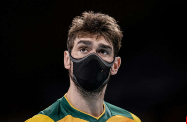 Brazilian volleyball player reveals why he's wearing a mask